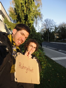 "Hitchhiking in the direction of the the ""Ruhrgebiet"" (big industrialized area of several cities in the west of Germany) got me to Bonn where I met up with Jacob"