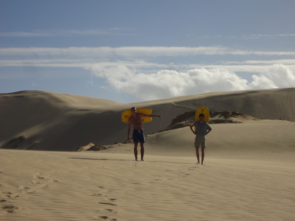 Martin and I just before sandboarding.