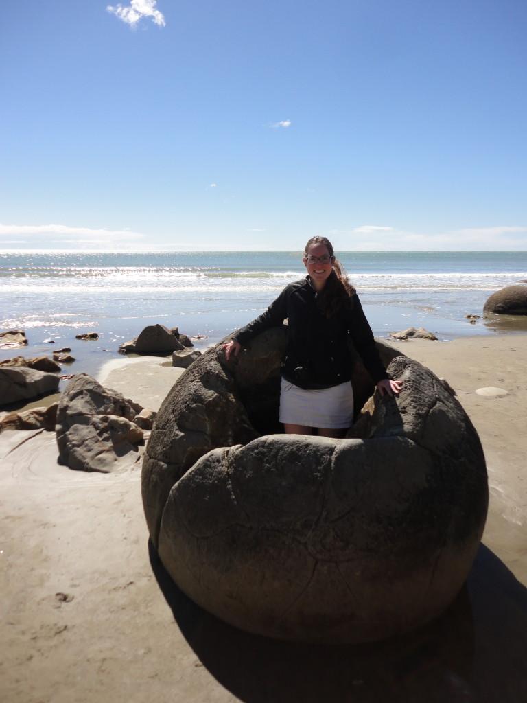 Marielle and the Moeraki Boulders