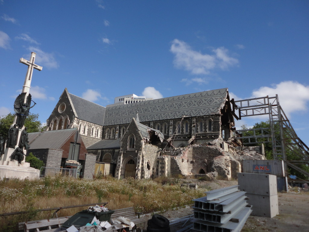 The badly damaged Christchurch cathedral